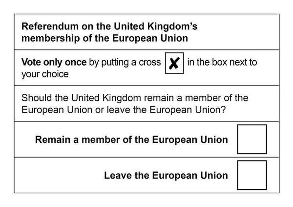 2016 EU Referendum Ballot Paper